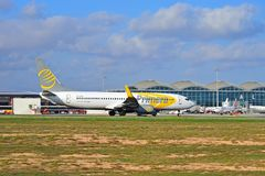 Primera航空公司阿利坎特机场西班牙 图库摄影
