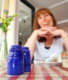 Primera comida romántica de la fecha Fotos de archivo libres de regalías