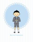 Primera comunión del muchacho Imagen de archivo libre de regalías