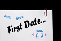 ¡Primera fecha - diferencias entre los sexos - relaciones! Imagenes de archivo