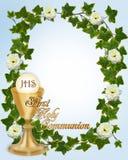 Primera frontera de la invitación de la comunión santa Imagenes de archivo