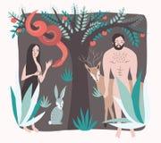 Primera gente Estilo plano del paraíso perdido del ejemplo del vector Adán y Eva en el jardín de eden con la serpiente, animal, m ilustración del vector