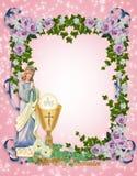Primera invitación de la comunión santa Imagenes de archivo