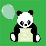 Primera muestra del cumpleaños y panda del bebé libre illustration