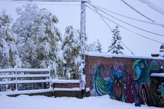 Primera nieve en Leadville imágenes de archivo libres de regalías