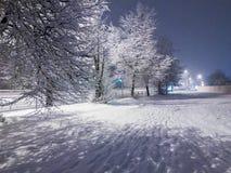 Primera nieve en una ciudad Fotos de archivo