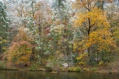 Primera nieve, otoño Imagenes de archivo