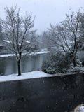 Primera nieve y nieve en el lago fotografía de archivo