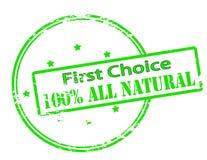 Primera opción el ciento por ciento todo de natural Imagen de archivo libre de regalías