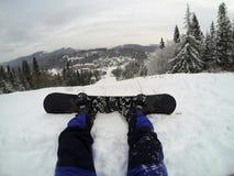 Primera pendiente de la snowboard imagenes de archivo