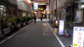 Primera persona POV que camina abajo de una calle secundaria en la noche en Tokio Japón metrajes