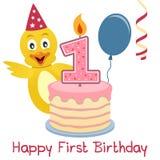 Polluelo lindo del primer cumpleaños ilustración del vector