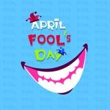 Primera tarjeta de felicitación sonriente de April Fool Day Happy Holiday de la boca stock de ilustración