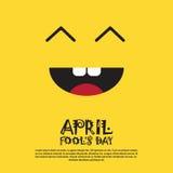 Primera tarjeta de felicitación sonriente de April Fool Day Happy Holiday de la cara Imágenes de archivo libres de regalías