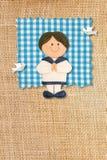 Primera tarjeta de la invitación de la comunión santa, muchacho Imagen de archivo libre de regalías