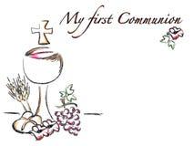Primera tarjeta de la religión de la comunión Imagen de archivo libre de regalías