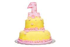 Primera torta de cumpleaños Imagenes de archivo