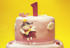 Primera torta de cumpleaños Imagen de archivo