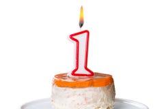 Primera torta de cumpleaños para el perro con la vela Imagenes de archivo