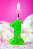 Primera vela del cumpleaños Imagen de archivo libre de regalías
