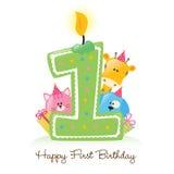 Primera vela feliz del cumpleaños ilustración del vector