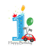 Primera vela feliz del cumpleaños Tarjeta de felicitación del bebé con vector del coche de carreras Imagen de archivo libre de regalías