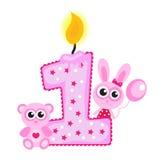 Primera vela y animales felices del cumpleaños en blanco Tarjeta rosada, ilustración del vector
