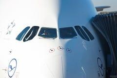 Primera vez A380 en Praga Foto de archivo libre de regalías