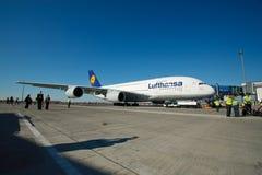 Primera vez A380 en Praga Imágenes de archivo libres de regalías