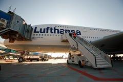 Primera vez A380 en Praga Imagenes de archivo