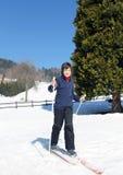 Primera vez con esquí de fondo Fotografía de archivo libre de regalías