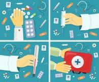 Primeras banderas de la ayuda médica fijadas Kit Content Foto de archivo