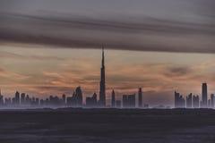 Primeras visiónes desde la tapa del Burj Khalifa Fotos de archivo