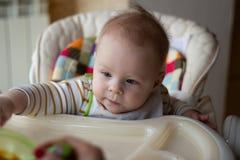 Primero la alimentación del bebé de la cuchara La mamá alimenta la comida tajada homogeneizada bebé con una cuchara Cuidado de ni fotos de archivo libres de regalías