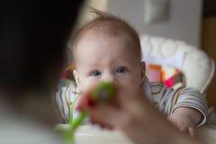 Primero la alimentación del bebé de la cuchara La mamá alimenta la comida tajada homogeneizada bebé con una cuchara Cuidado de ni foto de archivo
