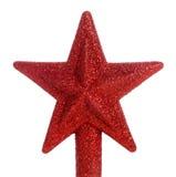 Primero rojo del árbol de navidad de la estrella del brillo Imagen de archivo libre de regalías