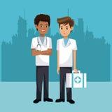 Primeros auxilios de la maleta de los hombres del paramédico con el fondo urbano libre illustration