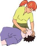 Primeros auxilios - llevar a cabo la cabeza de la persona inconsciente ilustración del vector