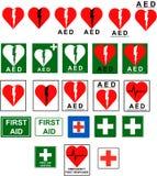 Primeros auxilios - muestras del AED ilustración del vector