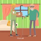 Primeros auxilios para el viejo hombre Concepto del cuidado médico Vector libre illustration