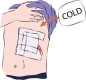 Primeros auxilios - vendaje en cuerpo con frío stock de ilustración
