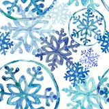 Primeros copos de nieve azules claros ilustración del vector