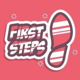 Primeros pasos de progresión Poner letras a citas de motivación del cartel de la tipografía stock de ilustración