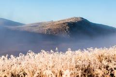 Primeros rayos solares en la montaña Imágenes de archivo libres de regalías