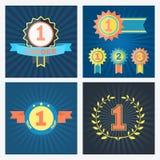 Primeros segundos y tercero puestos premios del vector Fotografía de archivo