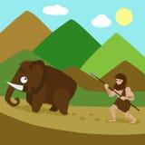 Primeval man hunted mammoths cartoon vector Royalty Free Stock Photos