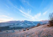 Primi geli ed alba di autunno in montagna Fotografia Stock