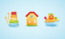 Primi giocattoli dei bambini Icone disegnate a mano di vettore del fumetto Fotografia Stock Libera da Diritti