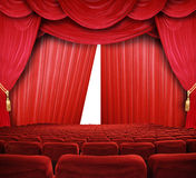 Primier a movie. Classic cinema with red seats Royalty Free Stock Photos