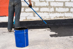 Priming  concrete screed Stock Image